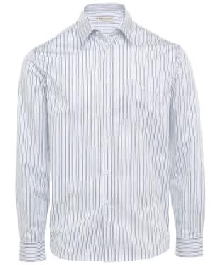 Men's R.M. Williams Collins Cotton Poplin Shirt - White / Navy / Blue