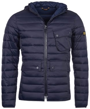 Men's Barbour International Ouston Hooded Quilted Jacket - Navy