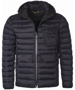 Men's Barbour International Ouston Hooded Quilted Jacket - Black