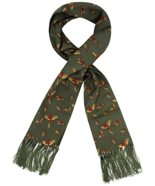 Men's Soprano Flying Pheasants Silk Scarf - Green