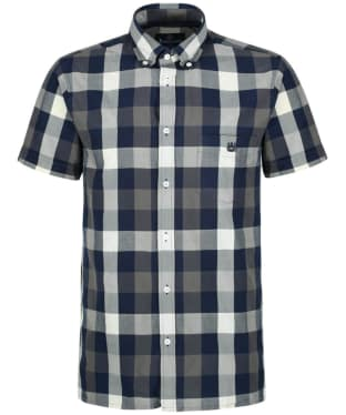 Men's Aquascutum Luke Indigo Short Sleeved Shirt - Navy / Calico / Grey