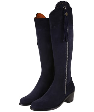 Women's Fairfax & Favor Heeled Regina Boots - Navy Blue Suede