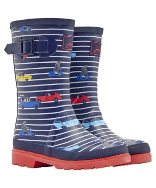 Boy's Joules Printed Welly - Navy Stripe Car