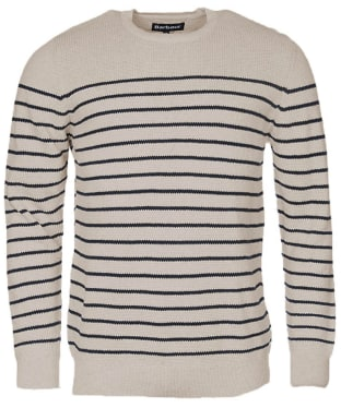 Men's Barbour Current Stripe Crew Sweater - Neutral Base