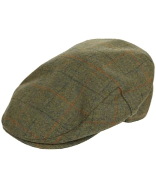 Men's Barbour Wool Crieff Flat Cap - Olive Plaid