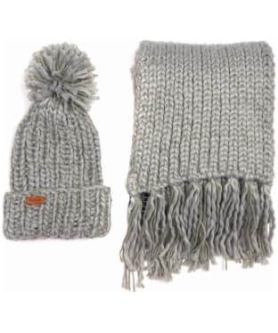 Women's Barbour Chunky Knit Hat and Scarf Set - Grey