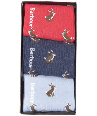Women's Barbour Rabbit Motif Sock Gift Box - Blue / Red