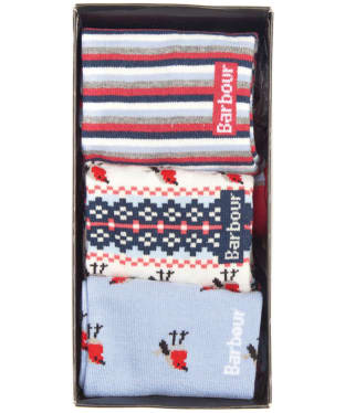 Women's Robin Christmas Sock Gift Box - Multi - Blue / Red