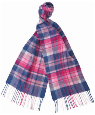 Women's Barbour Vintage Winter Plaid Scarf - Raspberry Blue