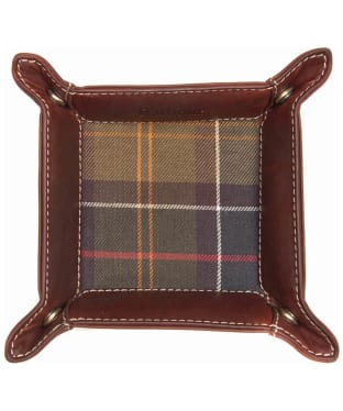 Men's Barbour Tartan and Leather Valet Tray