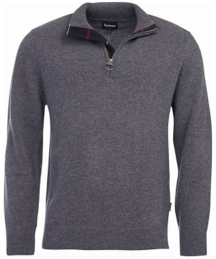Men's Barbour Holden Half Zip Sweater - Mid Grey Marl