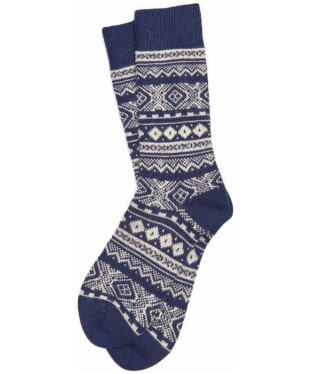 Men's Barbour Onso Fairisle Socks - Navy