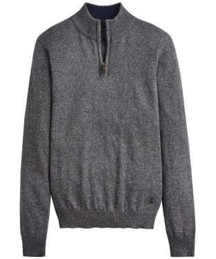 Men's Joules Hillside Half-Zip Funnel Neck Jumper - Dark Grey Marl