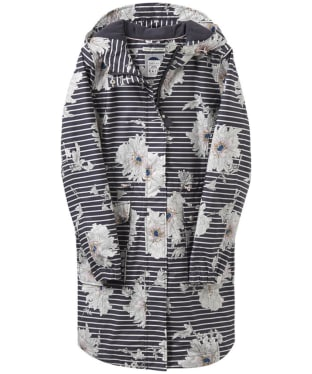 Women's Joules Raina Waterproof Parka - Grey Peony Stripe