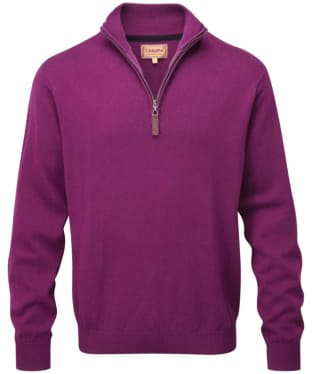 Men's Schoffel Cotton ¼ Zip Jumper - Plum