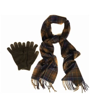 Men's Barbour Scarf and Glove Gift Box - Classic / Olive