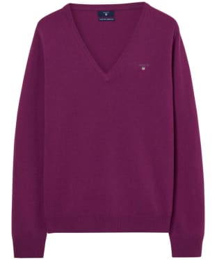 Women's GANT Super Fine Lambswool V-neck Sweater - Raspberry Purple