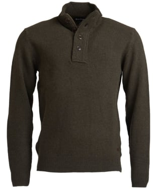 Men's Barbour Patch Half Button Lambswool Sweater - Seaweed