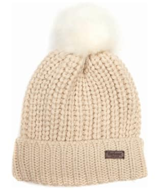 Women's Barbour Saltburn Bobble Hat - Pearl
