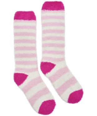 Girl's Joules Striped Fluffy Socks - Rose Pink