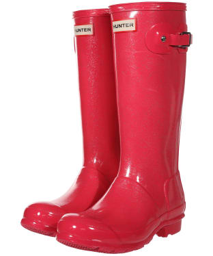 Hunter Original Kids Glitter Wellington Boots - Mosse Pink