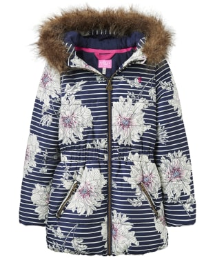 Girl's Joules Infant Belmont Printed Puffer Jacket, 3-6yrs - French Navy Peony