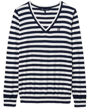 Women's Crew Clothing Foxy V-Neck Sweater - Navy / White