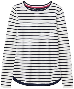Women's Crew Clothing Stripe Mix Jumper - White Linen / Navy