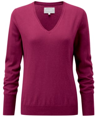 Women's Schoffel Cotton Cashmere V-Neck Sweater - Raspberry