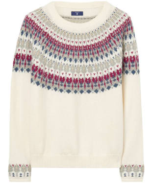 Women's GANT Cotton Wool Fairisle Crew Neck Sweater - Cream