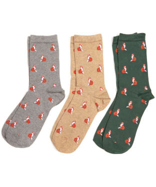 Women's Barbour Fox Motif Sock Gift Box Set - Grey / Green / Stone