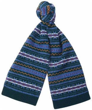Barbour Martingale Fairisle Scarf - Dark Green / Blue Fairisle
