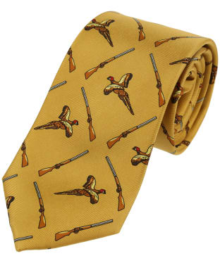 Men's Soprano Pheasant and Shotgon Print Tie - Mustard