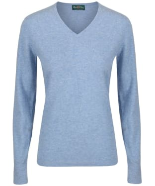 Women's Alan Paine Inset Sleeve V-neck Sweater - Glacier