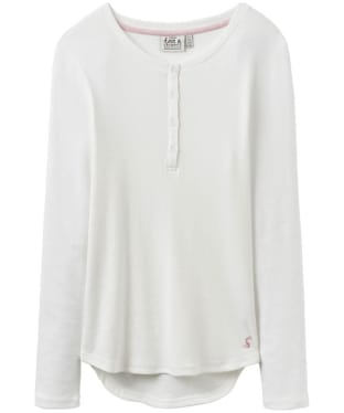 Women's Joules Dormi Ribbed Henley Pyjama Top - Cream