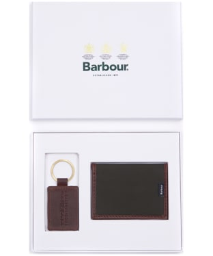Men's Barbour Drywax Card Holder and Key Fob Gift Set