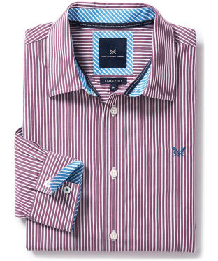 Men's Crew Clothing Classic Striped Shirt - Washed Plum