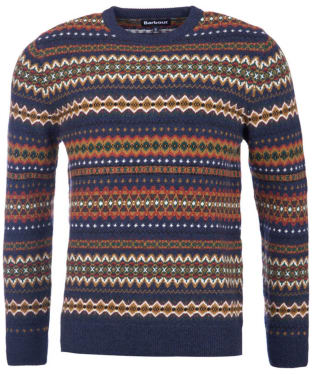 Men's Barbour Case Fairisle Crew Neck Jumper - Navy Marl