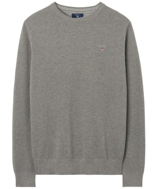 Men's GANT Piqué Crewneck Sweater - Grey Melange