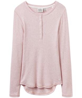 Women's Joules Dormi Ribbed Henley Pyjama Top - Pink Marl