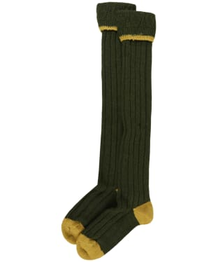Men's Barbour Contrast Gun Merino Wool Stockings - Olive / Gold