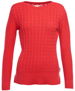 Women's Barbour Prudhoe Knitted Sweater - Tartan Red