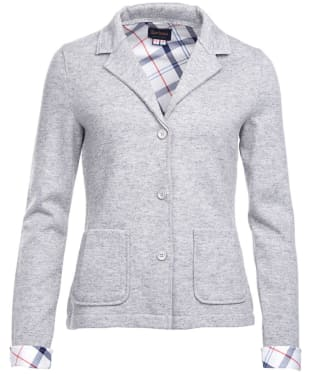 Women's Barbour Leathen Knit Jacket - Light Grey Marl