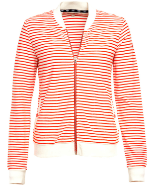 Women's Barbour Bamburgh Sweatshirt - White / Signal Orange