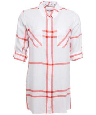 Women's Barbour Bamburgh Shirt - White / Signal Orange