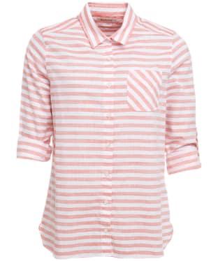 Women's Barbour Craster Shirt - White / Signal Orange