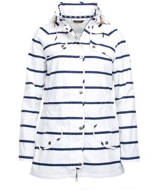 Women's Barbour Stripe Trevose Waterproof Jacket - White / Navy