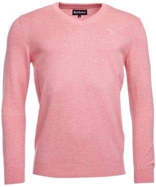 Men's Barbour Pima Cotton V-Neck Sweater - New Pink Marl