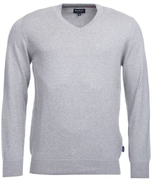 Men's Barbour Clyde V Neck Jumper - Grey Marl