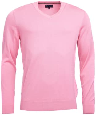 Men's Barbour Clyde V Neck Jumper - Pink Marl
